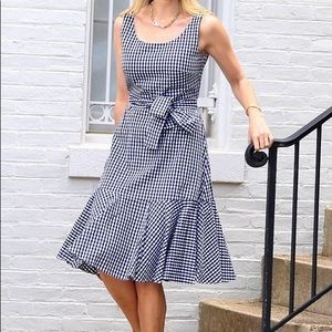 J Crew Gingham White and Navy Blue Dress